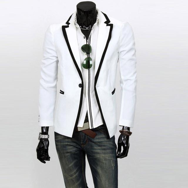 Новая Мода Мужская Куртка Костюмы Slim Fit Стильный Повседневная One Кнопка Пальто ...