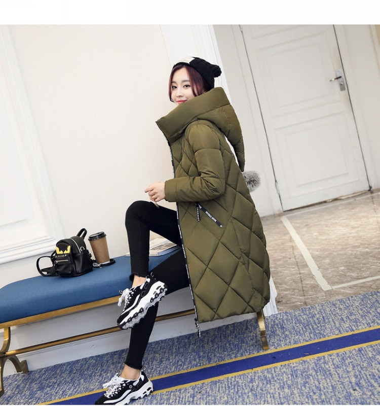 New 2016 Women Jackets Fashion Stand-collar Hooded Down Cotton Jacket Winter Thicken Padded Coat Slim Long Outerwear Parka A2003