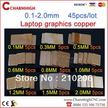Free shipping, 0.1mm-2.0mm (45 pcs/lot, 7 kinds) Laptop GPU South North Bridage IC Heatsink Cooling Thermal Copper Shim