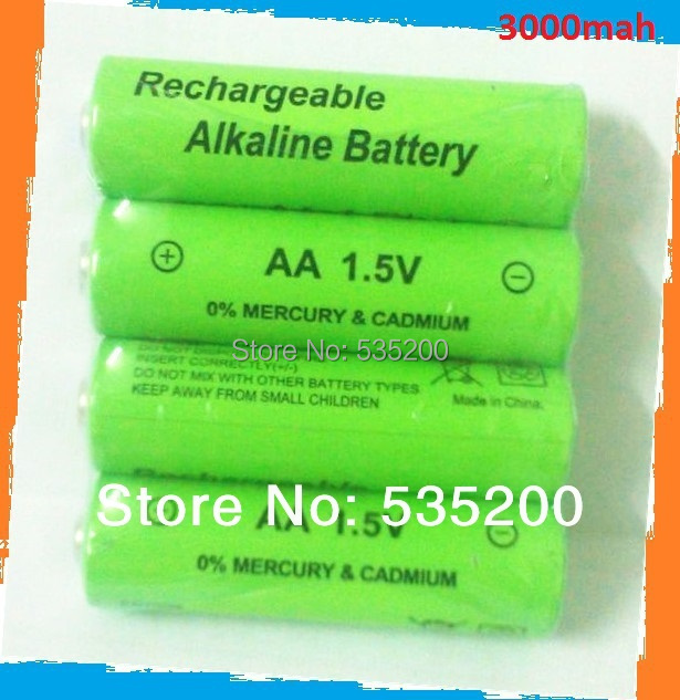 4pcs/lot aa rechargeable battery 3000mah 1.5V new Alkaline Rechargeable batteries for led flashlight bateria 12v(8pcs )(China (Mainland))