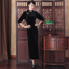 Qipao 2015 New Autumn Winter Dress Elastic Elegant Temperament Long Cheongsam Dress Chinese Traditional Dress Free Shipping