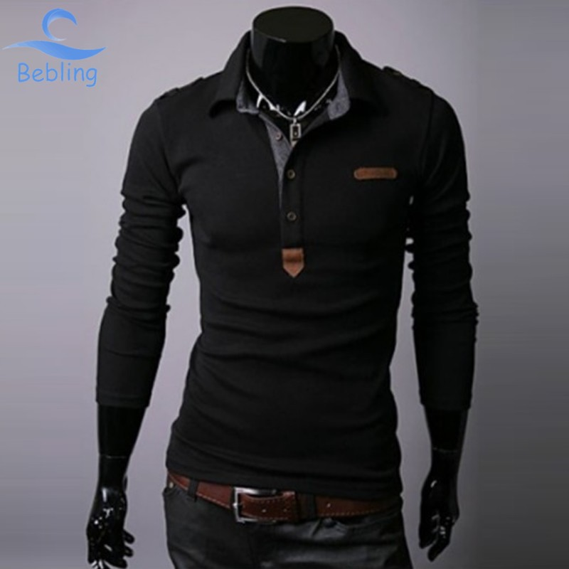 Bebling New 2015 Spring Men s polo long sleeve men Polo Shirts Fashion Leisure Brand Casual