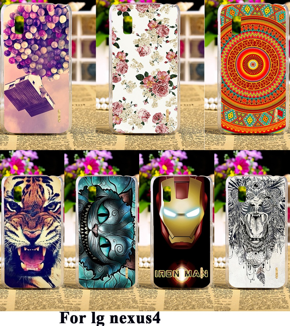 Luxury Painted Phone Cases For LG Google Nexus 4 E960 Nexus4 Covers Anti-Scratch Protective Bags 18 Styles Plastic Durable Shell(China (Mainland))