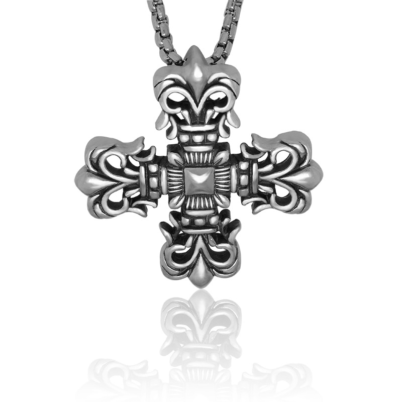 Luxury 316L Stainless steel retro vintage brand cross pendant chunky necklace for men(China (Mainland))