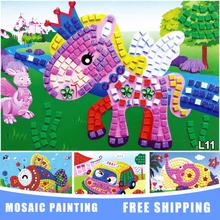 2016 19*29cm  Kids Foam Mosaic Stickers Art Puzzle DIY 3D Diamond Pasted Cartoon Character Children's Educational Toy Sticker(China (Mainland))