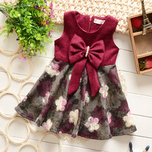 Baby Girl Dress 2016 Spring Baby Dress Casual Baby Girl Clothing Cotton Girls Big Bow Dress Brand Children Clothing