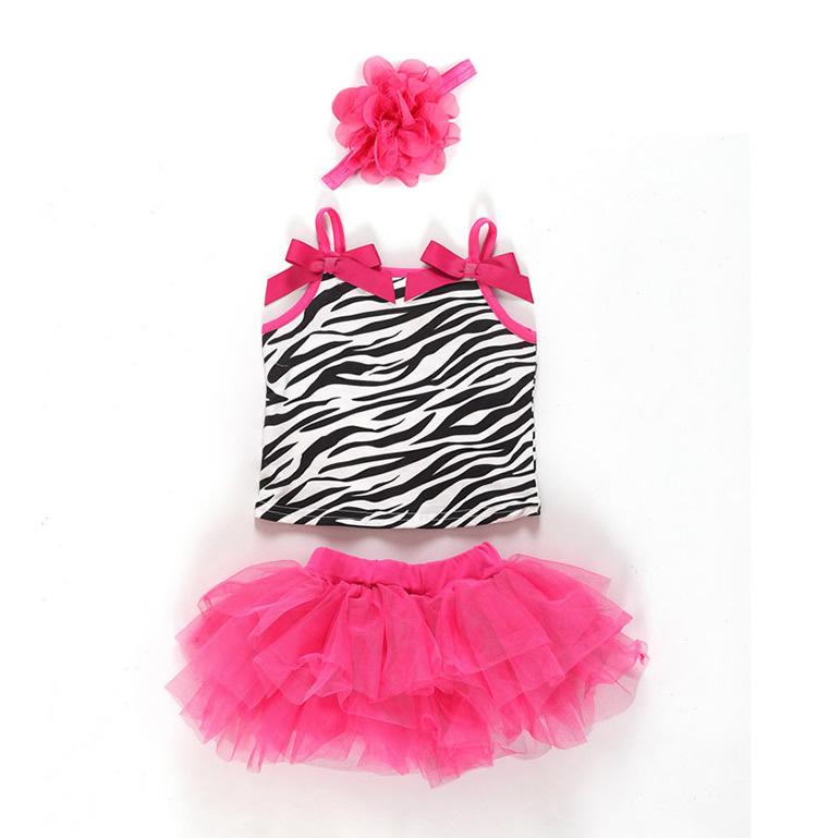 3pcs Baby Girl Clothes Kids Newborn Infantil Headband+Tank Tops+Skirt Tutu Outfit Ropa de Bebe Hot Pink Zebra(China (Mainland))
