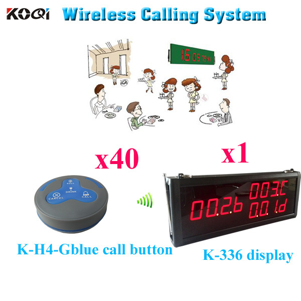 Waiter Pager System 100% Original Safe Delivery Waitress System Called Set (1 display 40 call button)(China (Mainland))
