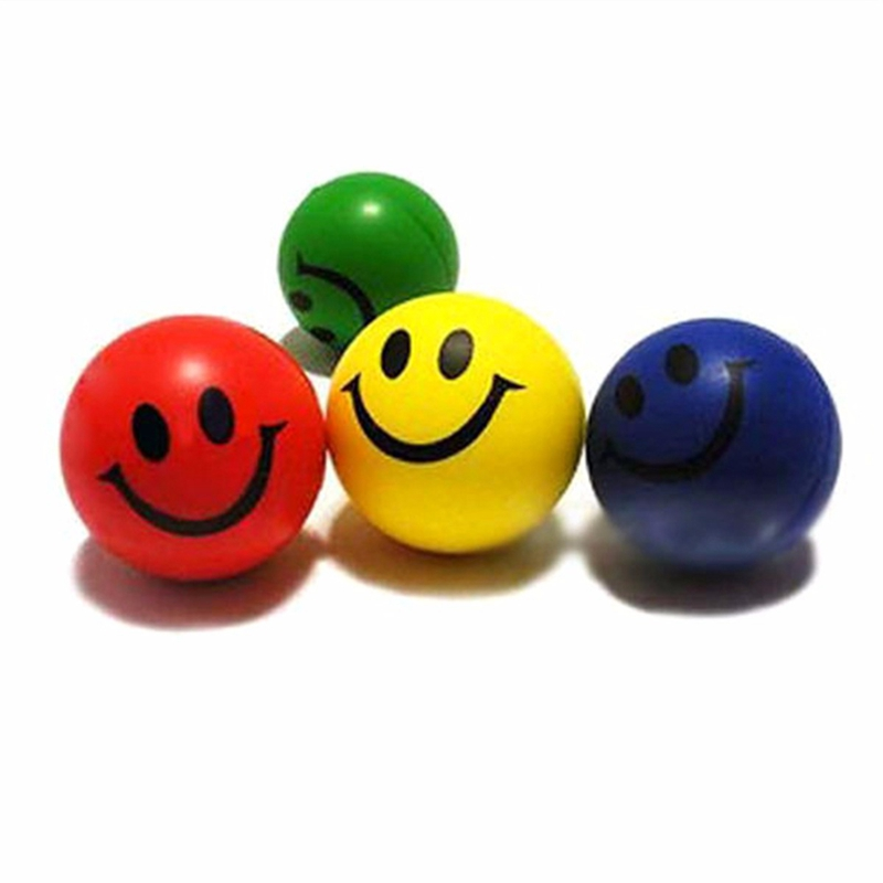 6cm Novetly Cute Squeeze Ball Smile Face Hand Wrist Exercise Stress Relief PU Rubber Toy Venting Ball Multi Color Randomly(China (Mainland))
