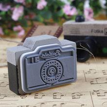 Azerin Lovely 2 Model Korea Wooden retro Camera Rubber Stamp Seal Gray & Brown DIY Free Shipping