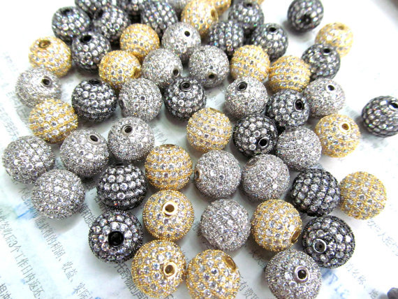 AAA grade 14mm 8pcs pave metal spacer &amp;cubic zirconia crysatl silver gold mixed jewelry beads<br><br>Aliexpress