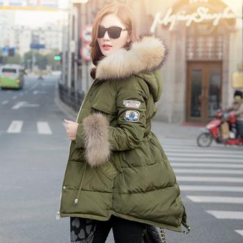 Пуховик длинная капюшон, зима куртка женщины енот мех воротник куртка приталенный ...