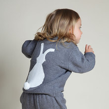 Spring New Arrival Casual Knitted Cute Bunny Baby Girls Sweater 1-5Y Kids Rabbit Pattern Clothes