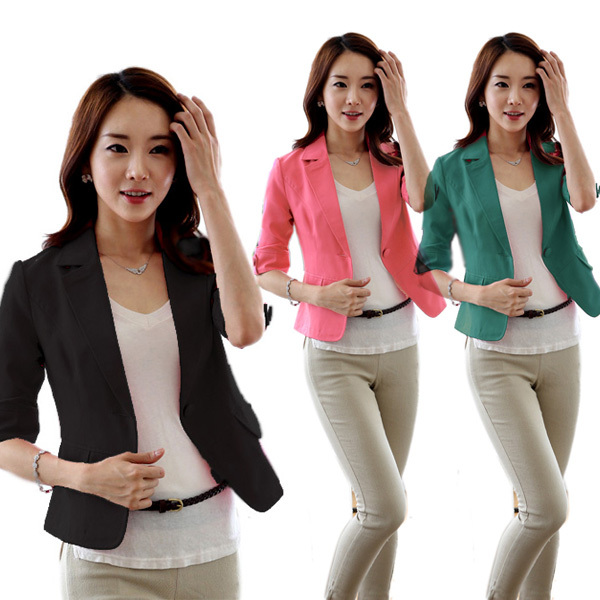 Fitted Korea Candy Color Fashion Women's Slim Blazer Coat Jacket 3/4 Sleeve Top(China (Mainland))