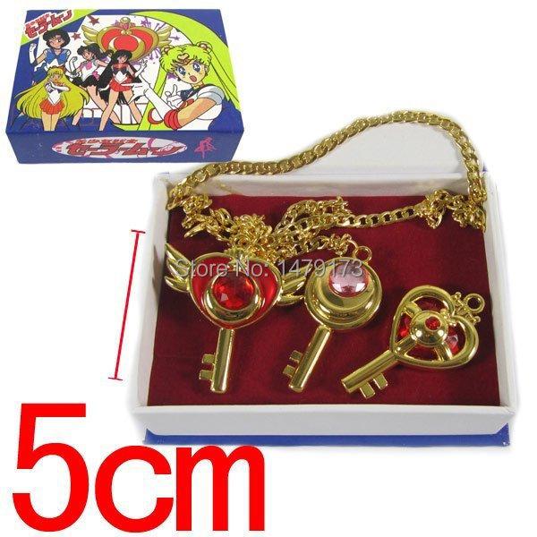 Cartoon Pretty Soldier Sailor Moon metal pendants necklace 3pcs/set boxt cosplay key pendant toy alloy fashion - Moonsytoy store