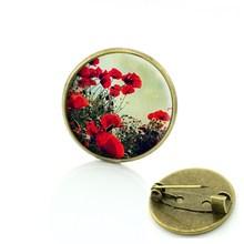 TAFREE di modo quattro foglia di trifoglio pin flora bella fiore di Arte Immagine di Vetro Cabochon distintivo delle donne monili di cerimonia nuziale spilla T673(China)