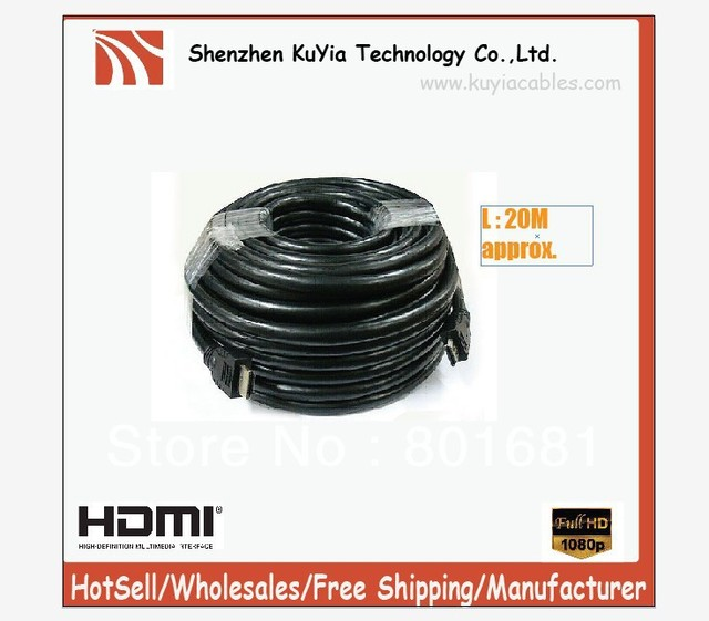 Free Shipping+20M + Black+FullHD 1080p 24AWG v1.3B HDMI Cable FOR HDTV TV PROJECTOR  +Wholesale