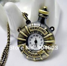 12pcs/lot Victorian Style Bronze Simulated Perfume Bottle Quart Watch Necklace , free shipping(China (Mainland))