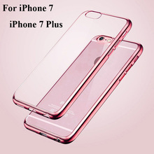 For Apple iPhone 7 7 Plus Case TPU Soft Transparent Ultra Thin Plating Electroplating Mobile Phone Back Cover For iPhone 7 Plus