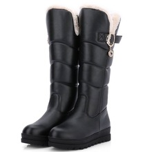 Rusia rodilla botas punta redonda botas de invierno mantener caliente abajo de piel de moda de señora Hebilla de nieve de las mujeres patea los zapatos(China (Mainland))