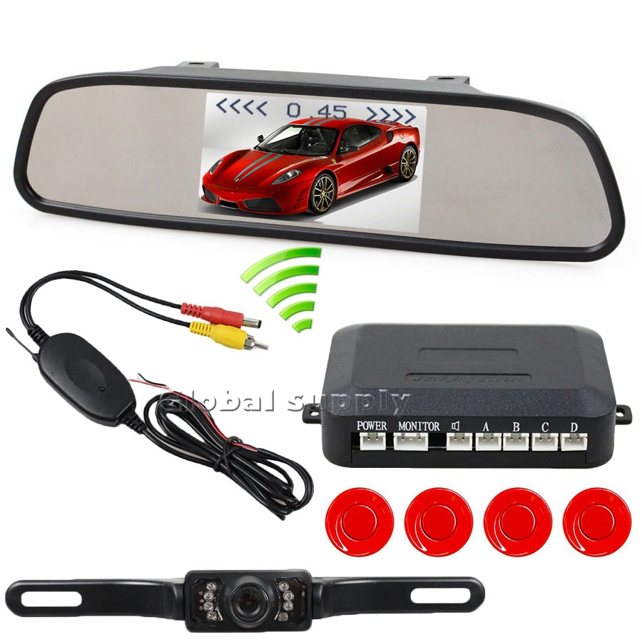 Wiewless Video Parking Radar System 4 Sensors- 4.3inch Car Rear View Mirror Monitor + IR Night Vision Rear View Camera 2014 New(China (Mainland))