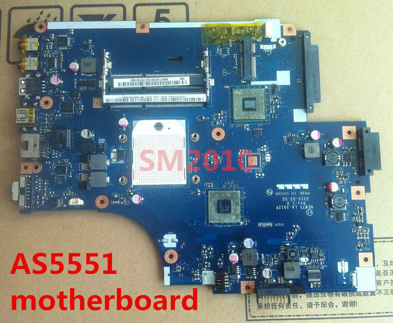 For acer Aspire 5551 5551G 5251 5251G Laptop motherboard for amd board Integrated DDR3 NEW75 LA-5912P MBPTQ02001 100% tested(China (Mainland))