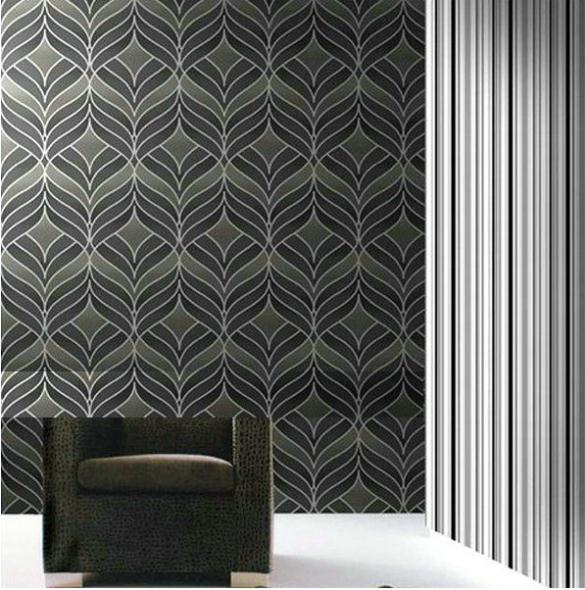 Dining room wallpaper grey silver textured background