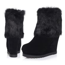 2015 Nuevos Cargadores de Las Mujeres Otoño Invierno Cálido Cuñas de Tacón Plataforma Zapatos de Mujer de Pelo de Conejo Botas de Nieve Envío Gratis(China (Mainland))