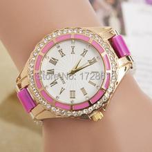El nuevo ocio moda para mujer del reloj del silicón 2015 espejo de mármol del cuarzo del silicón del reloj escala roma diamante