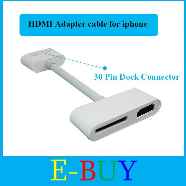Free shipping Digital AV 30pin Dock Connector to HDMI adapter cable for iphone 4 4s mini ipad new ipad ipod(China (Mainland))