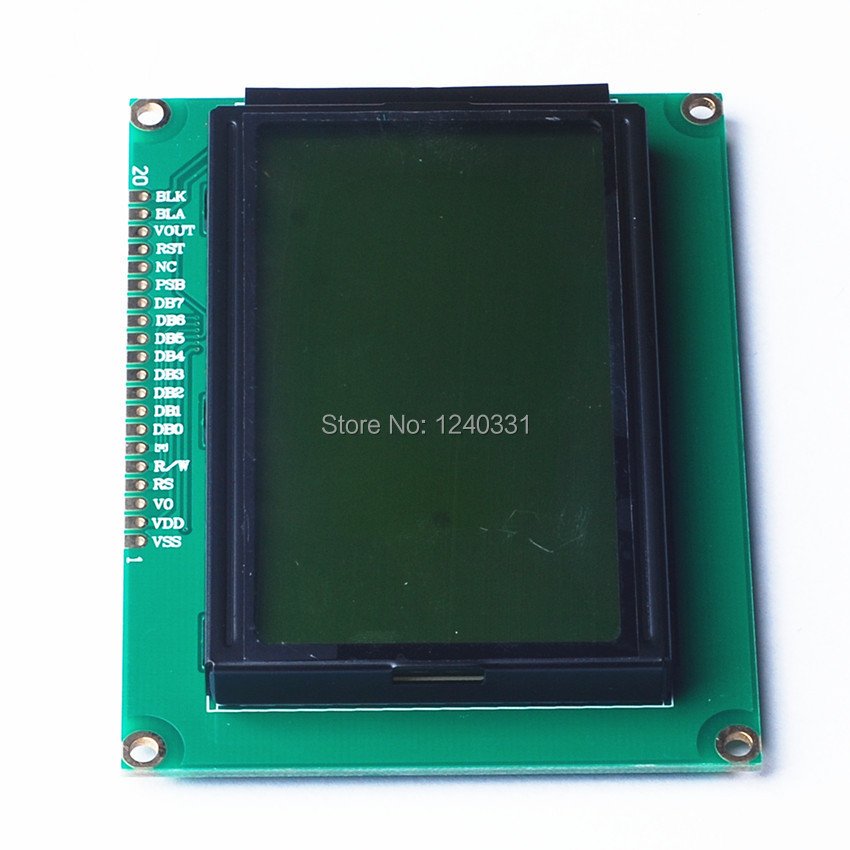 Free Shipping 2pcs/lot 12864 128x64 Dots Graphic Yellow Green Color Backlight LCD Display module ST7920 Controller New(China (Mainland))