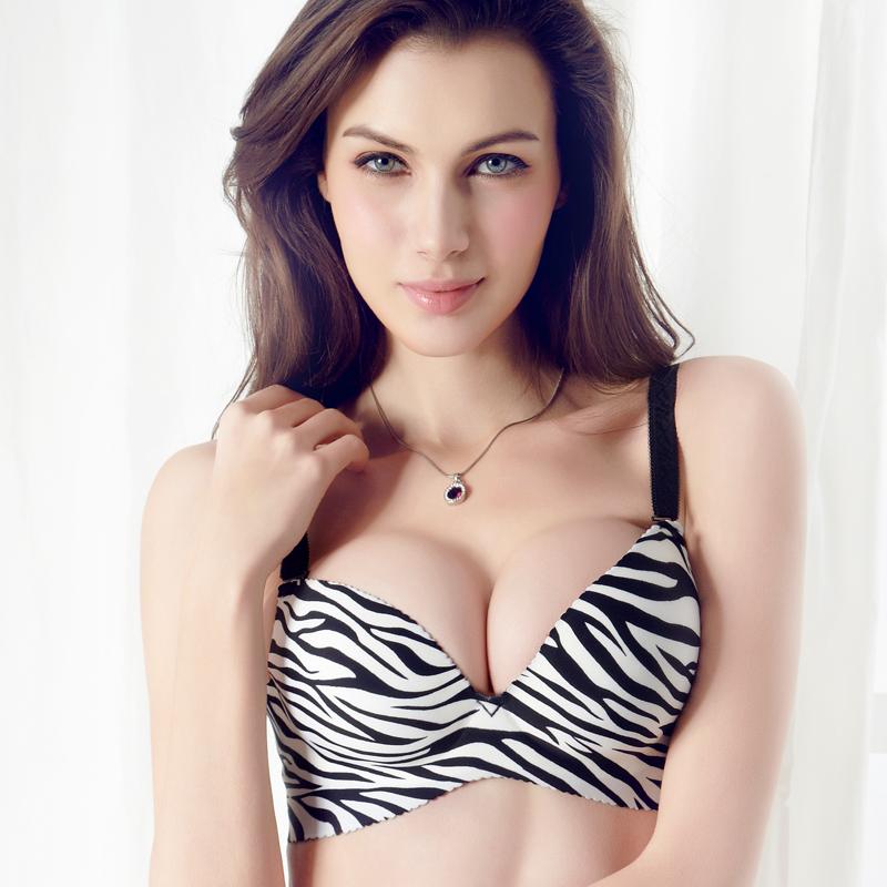 2015 Women's seamless bra a chip breathable fashion zebra print bra deep V-neck push up adjustable(China (Mainland))