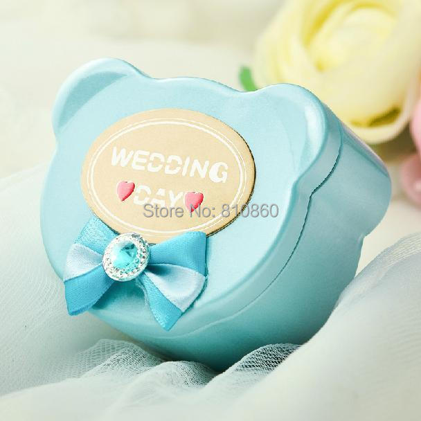 50pcs/lot Wholesales Bear Head Baby Candy Box Wedding Favors Candy Boxes Baby Shower Candy Box Metal Candy Box Birthday Hot Sale(China (Mainland))