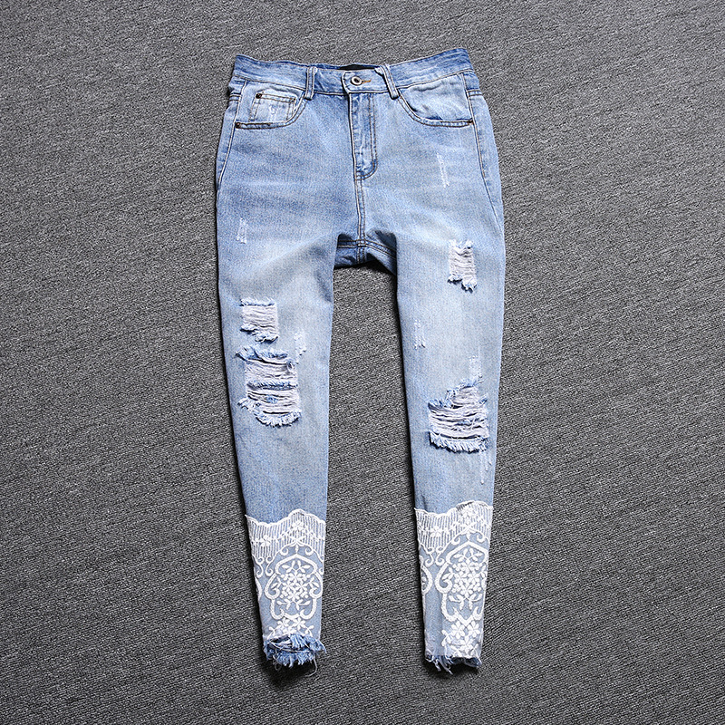 Фотография European style women 2016 new spring light hole jeans loose straight nine pants female fashion clothing N4040