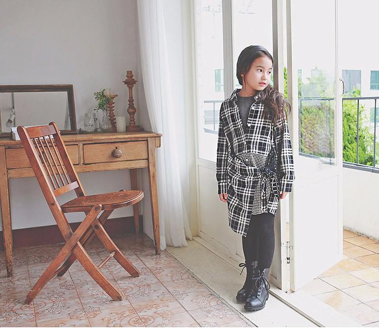 long shirts little teenage girls dresses autumn 2016 black plaid dress girl long sleeve blouses school clothes children clothing