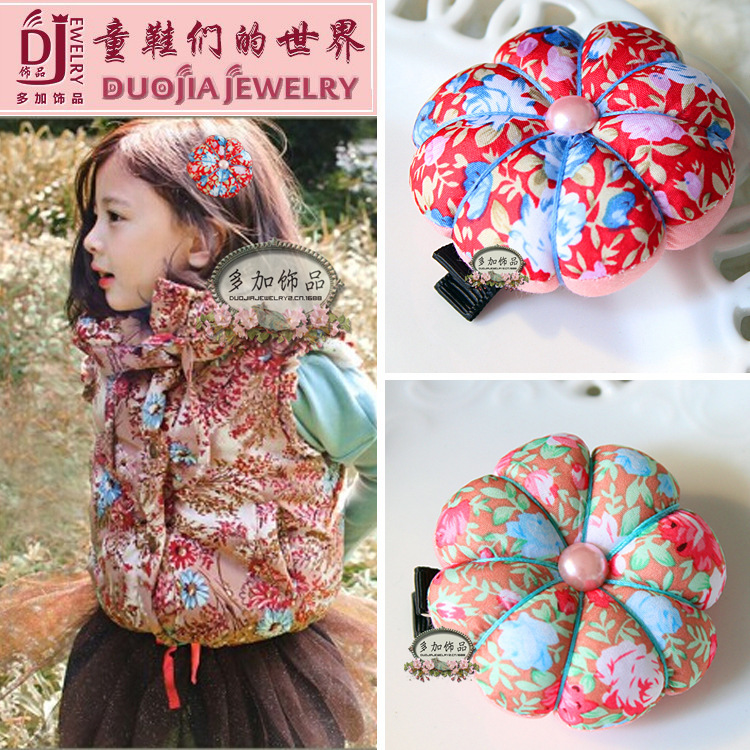 The new 2015 han edition color restoring ancient ways pumpkin clip hairpin Children tire hair 10 PCS/lot(China (Mainland))