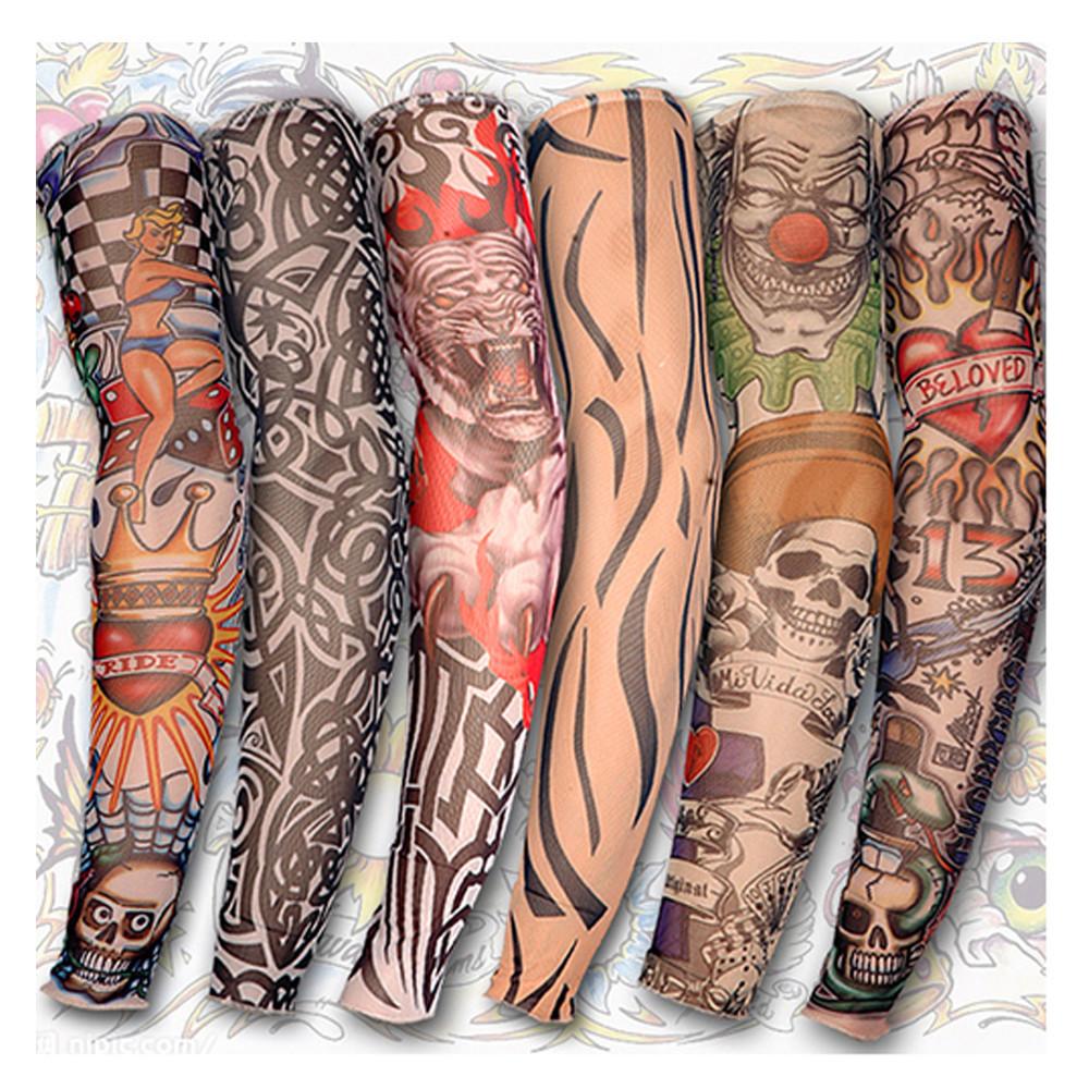 acheter manches de tatouage gros hommes et femmes bas de bras de tatouage temporaire en nylon. Black Bedroom Furniture Sets. Home Design Ideas