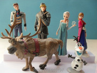 Anime Baby Toys 6 Action Figures Anna And Elsa Dolls Lovely Princess Hans Kristoff Sven Olaf Scale Model Dolls For Kids