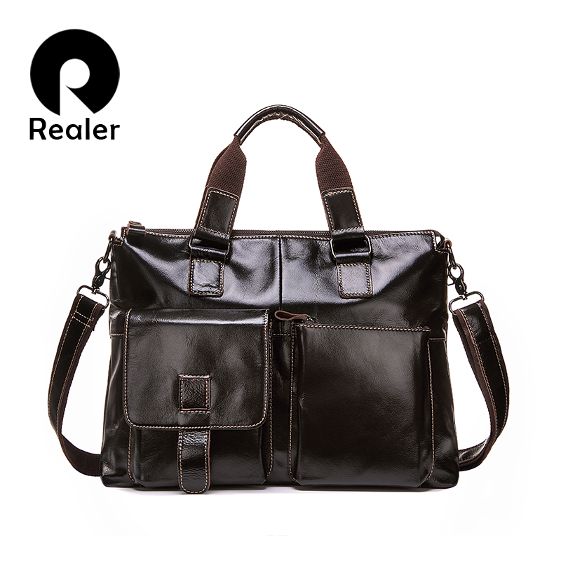 New business bag real leather laptop briefcase man bags men's handbags with genuine leather briefcase dress men messenger bags(China (Mainland))