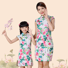 2016 chinese cheongsam for girl and women cotton linen mother and daughter 8colors