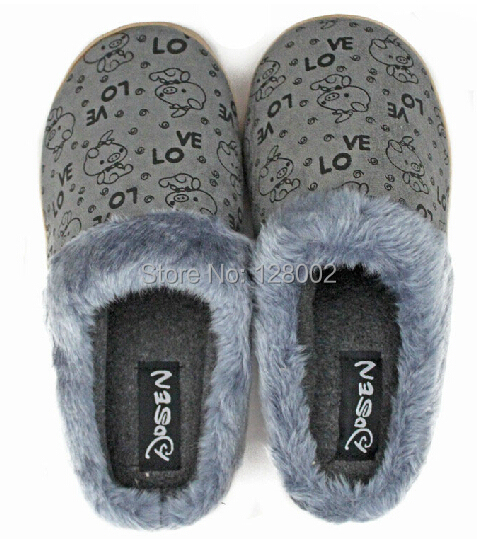 New Arrival Winter Home Faux Suede Cotton-padded Women Men's Slippers Indoor\Floor Warm Slippers Flat Shoes Free Shipping(China (Mainland))