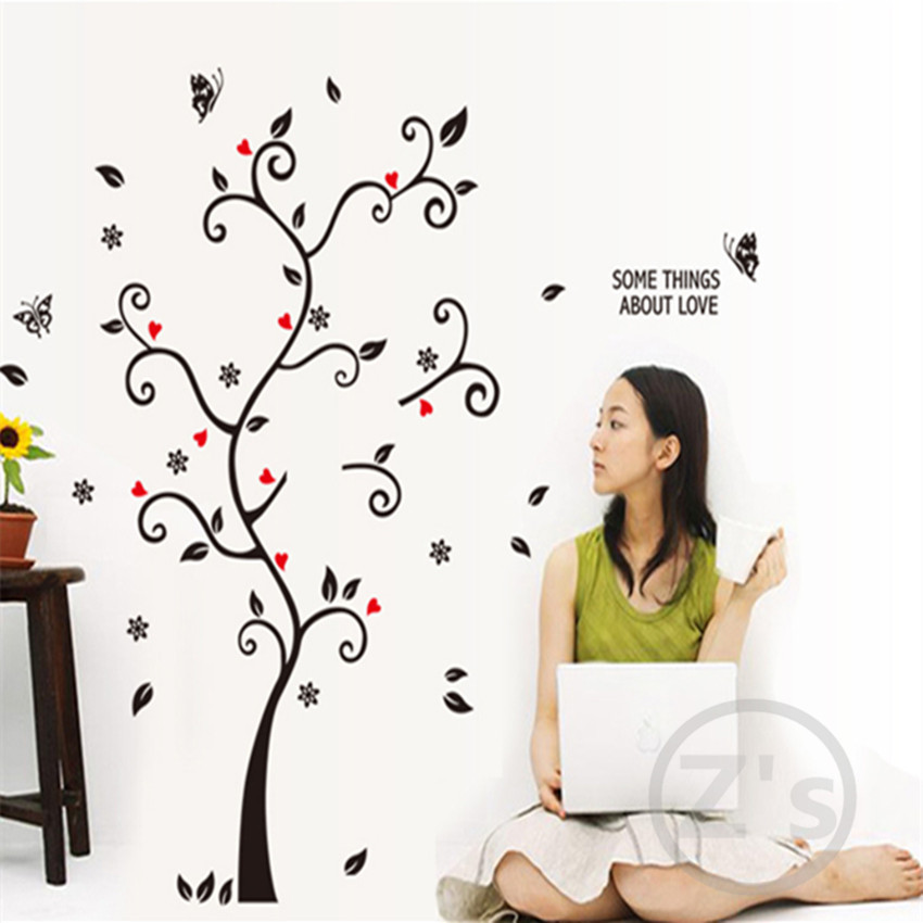 Tree branch stickers wall decals tree branches wall for Diy tree wall mural