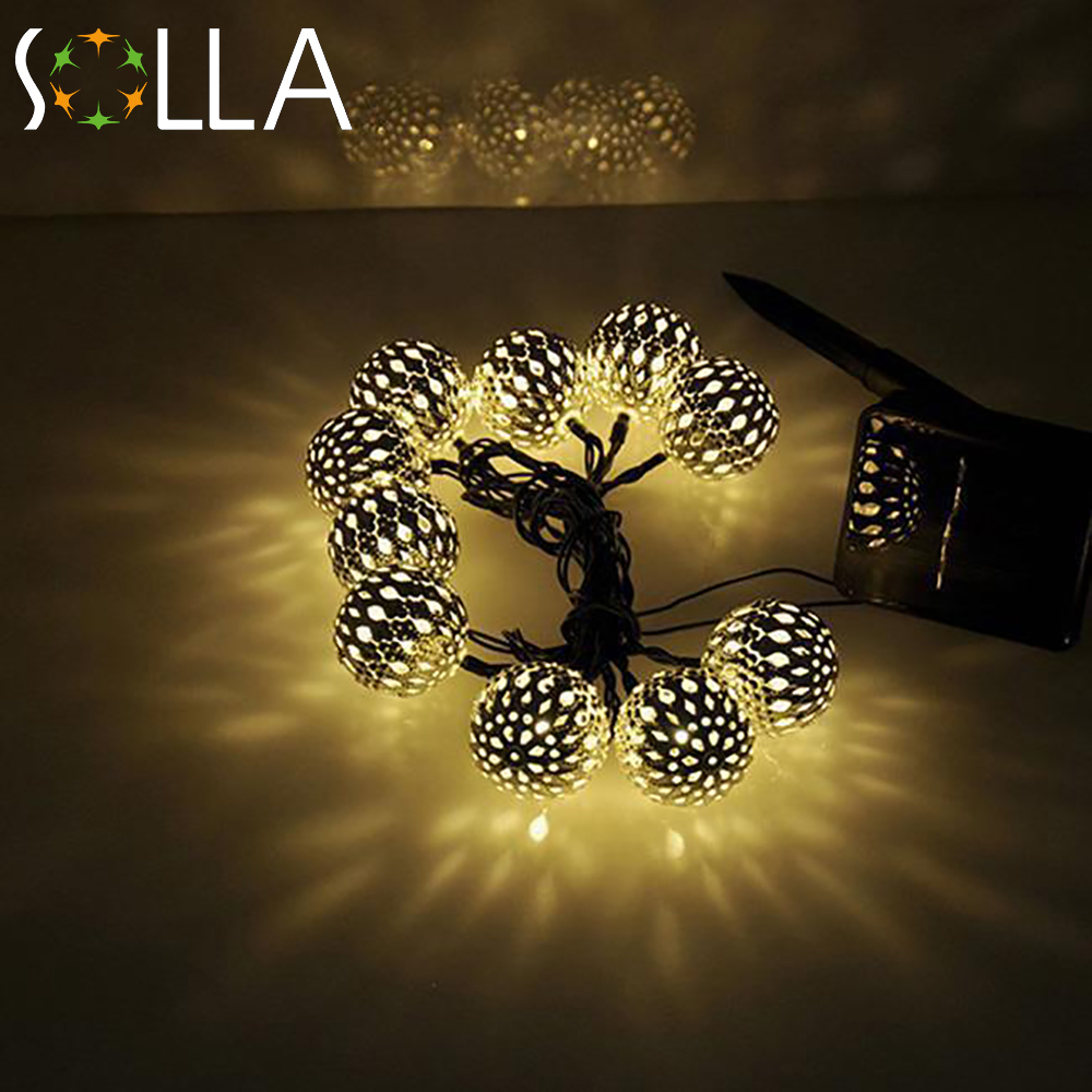10 ballsset moroccan string led solar fairy lightschristmas decoration led