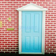 Dollhouse Miniature Wooden Door 4-Panel Exterior Steepletop with Key Free Shipping(China (Mainland))