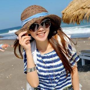 New Arrived Women Foldable Sun Hat Straw Big Hat With Denim Flowers Ladies Dress Beach Hats Girls Outdoors Visors Cap Wholesale(China (Mainland))