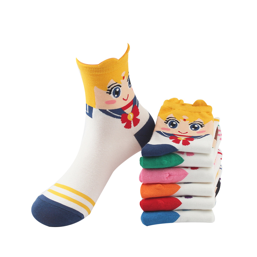 New women sock Lovely cartoon sweet Sailor Moon series absorbent breathable and comfortable casual socks(China (Mainland))