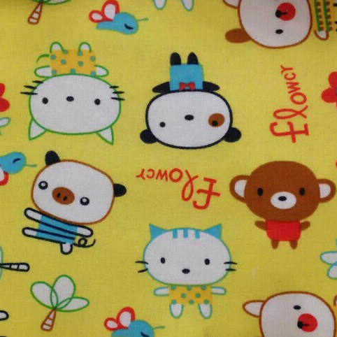 Cartoon Animals Prints Cotton Spandex Knit Fabrics yellow Poly Spun Velour for Kids Baby Autumn Coats diy Blankets tissues(China (Mainland))