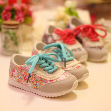 2015 Hot  Korean Floral baby girls shoes, children's shoes, sports shoes for girl princess flat shoes(China (Mainland))
