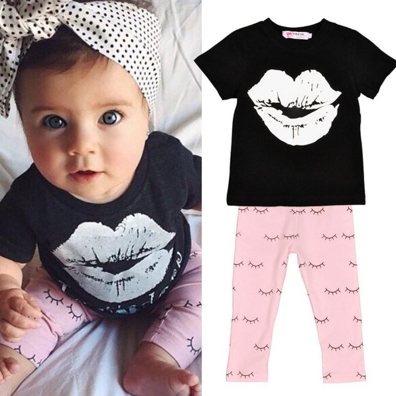 Infant Kids Baby Girls Cartoon 2 pcs Clothes Set Short Sleeve T-shirt +Long Pants Outfits S-XXL