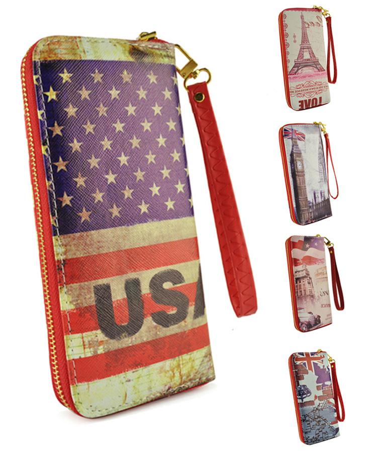 2015 British Style UK/USA National Flag PU Zipper Wallets for Women Big Ben London Carnival Printing Purse LBQ249(China (Mainland))